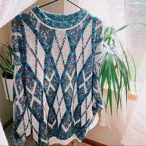 Vintage oversized geometric grandpa sweater